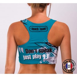 """Brassière """"Don't Speak, Just Play"""" Turquoise"""