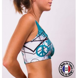 "Sports bra ""Don't speak just play"" Turquoise"
