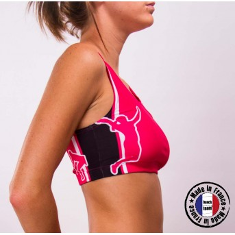 "Beachteam ""Oh les mains !"" pink sports bra"