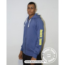 Sweat zip Beach Team en Coton Bio bleu et jaune