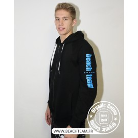 Sweat Zip Noir et Bleu Beach Team en Coton Bio