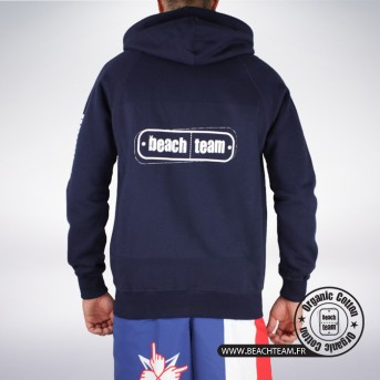 Sweat Zip Beach Team Coton Bio Bleu Marine